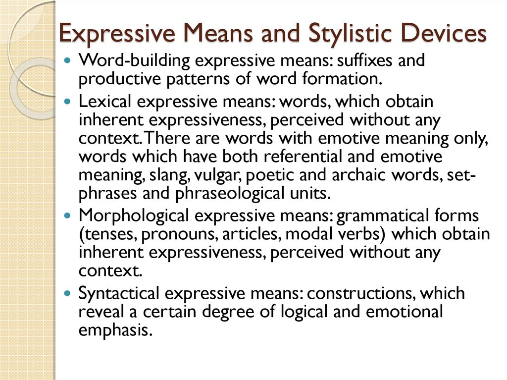 Expressive Means and Stylistic Devices