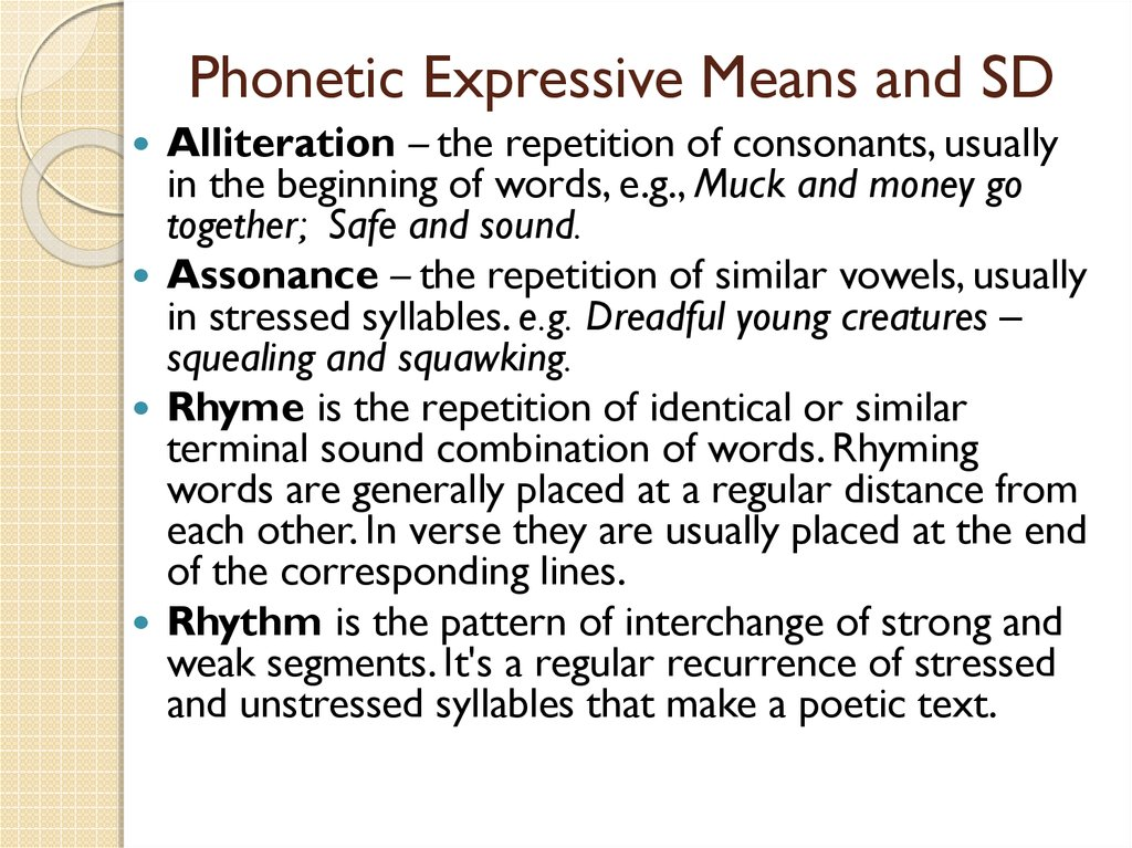 Phonetic Expressive Means and SD