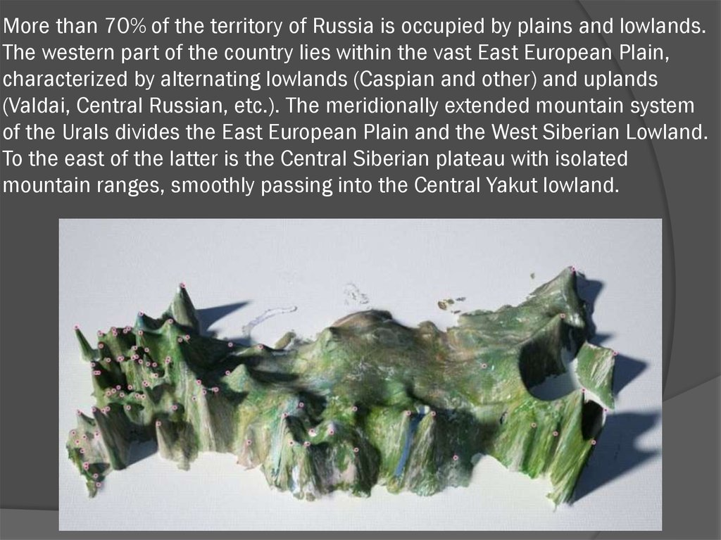 More than 70% of the territory of Russia is occupied by plains and lowlands. The western part of the country lies within the
