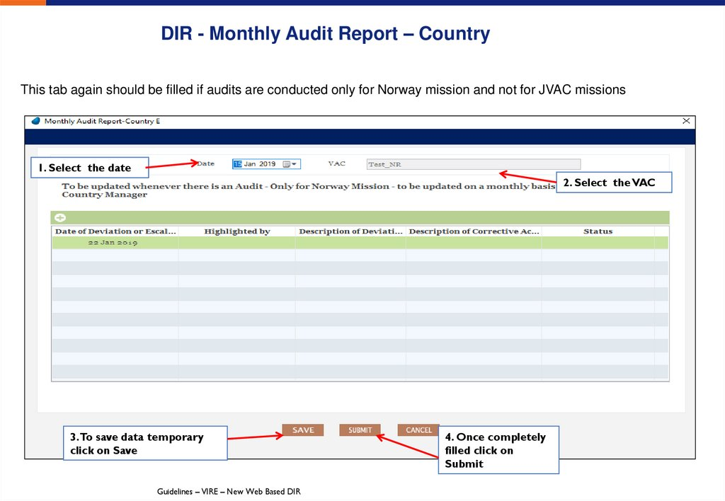 DIR - Monthly Audit Report – Country