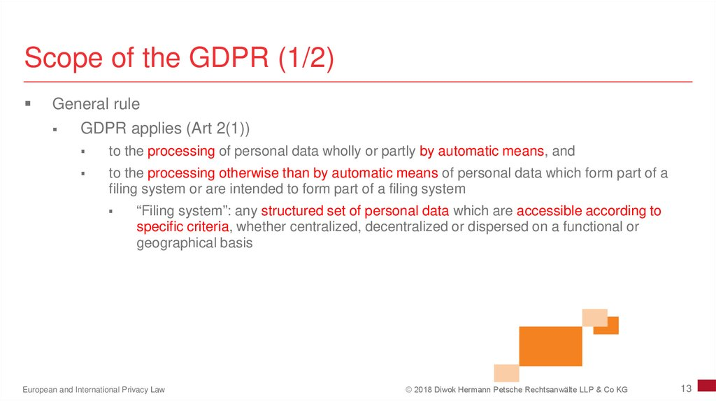 Scope of the GDPR (1/2)