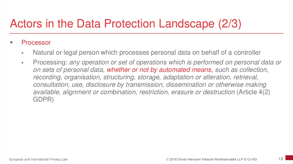 Actors in the Data Protection Landscape (2/3)