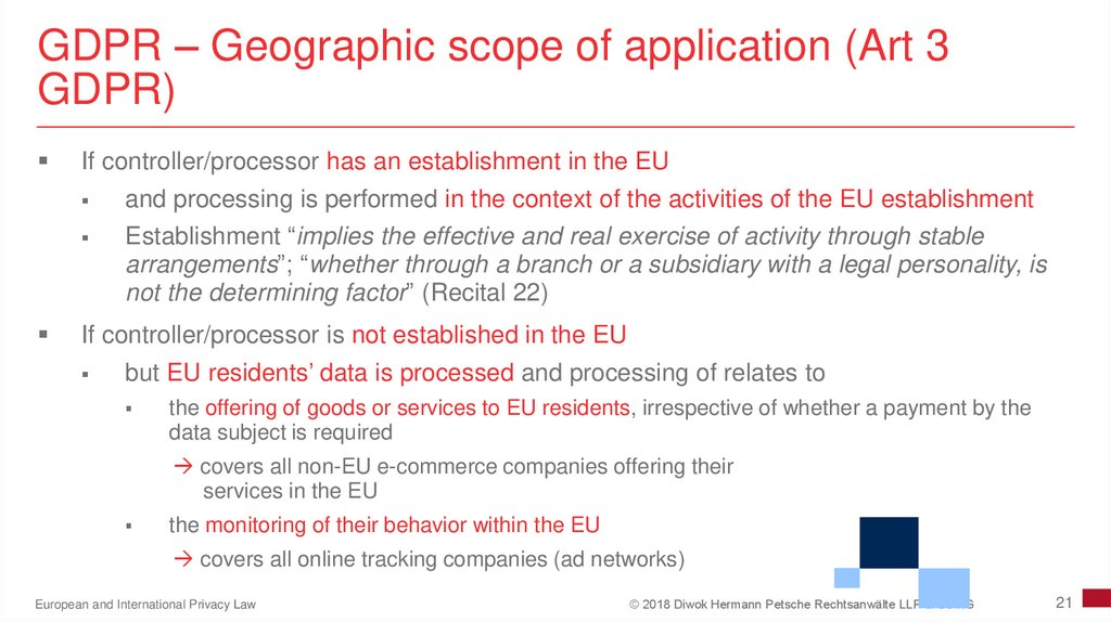 GDPR – Geographic scope of application (Art 3 GDPR)