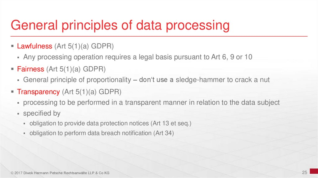 General principles of data processing