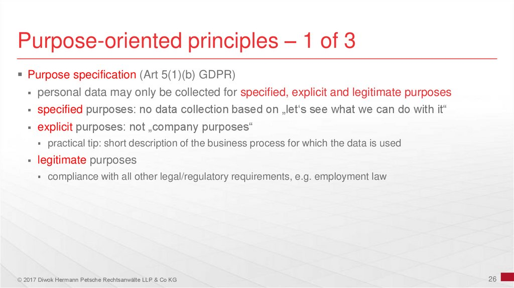 Purpose-oriented principles – 1 of 3