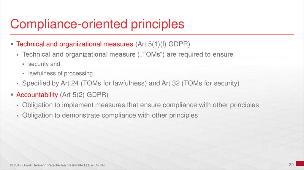 Compliance-oriented principles