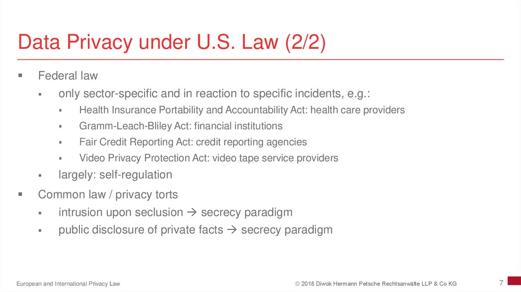 Data Privacy under U.S. Law (2/2)