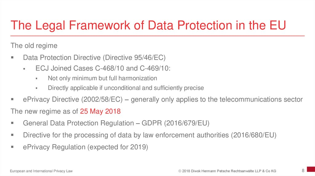 The Legal Framework of Data Protection in the EU