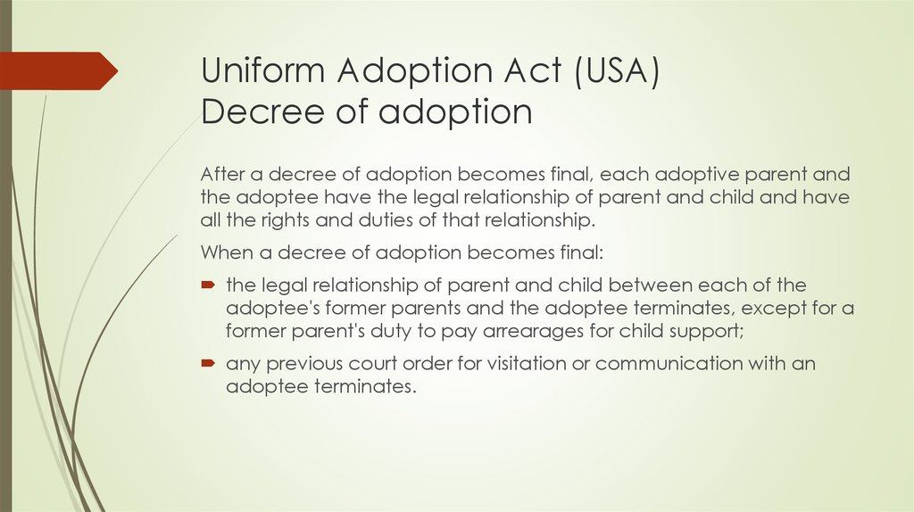 Uniform Adoption Act (USA) Decree of adoption