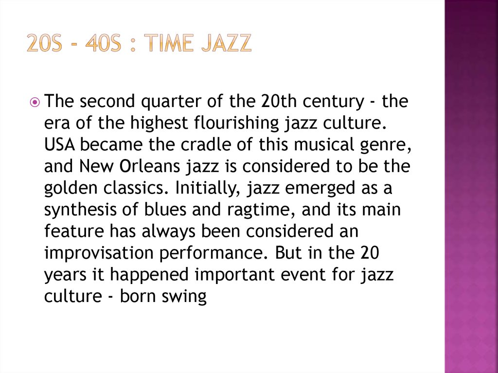 20s - 40s : Time Jazz