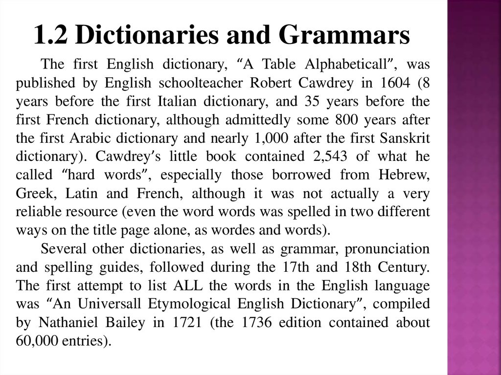 1.2 Dictionaries and Grammars