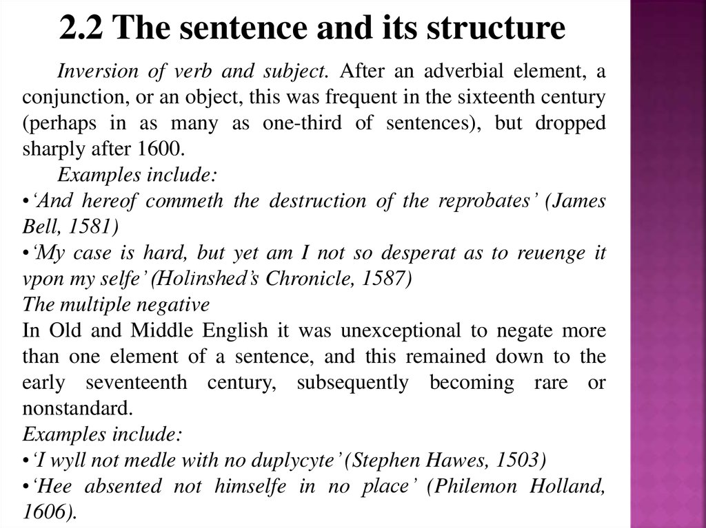2.2 The sentence and its structure