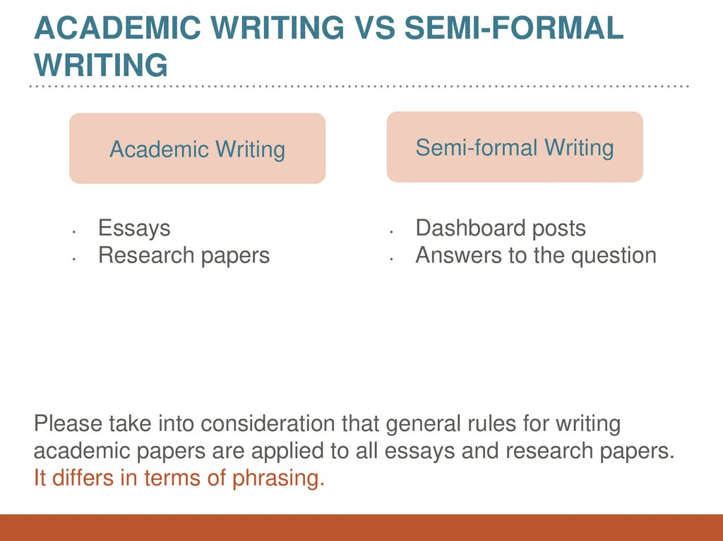 Academic writing vs semi-formal writing