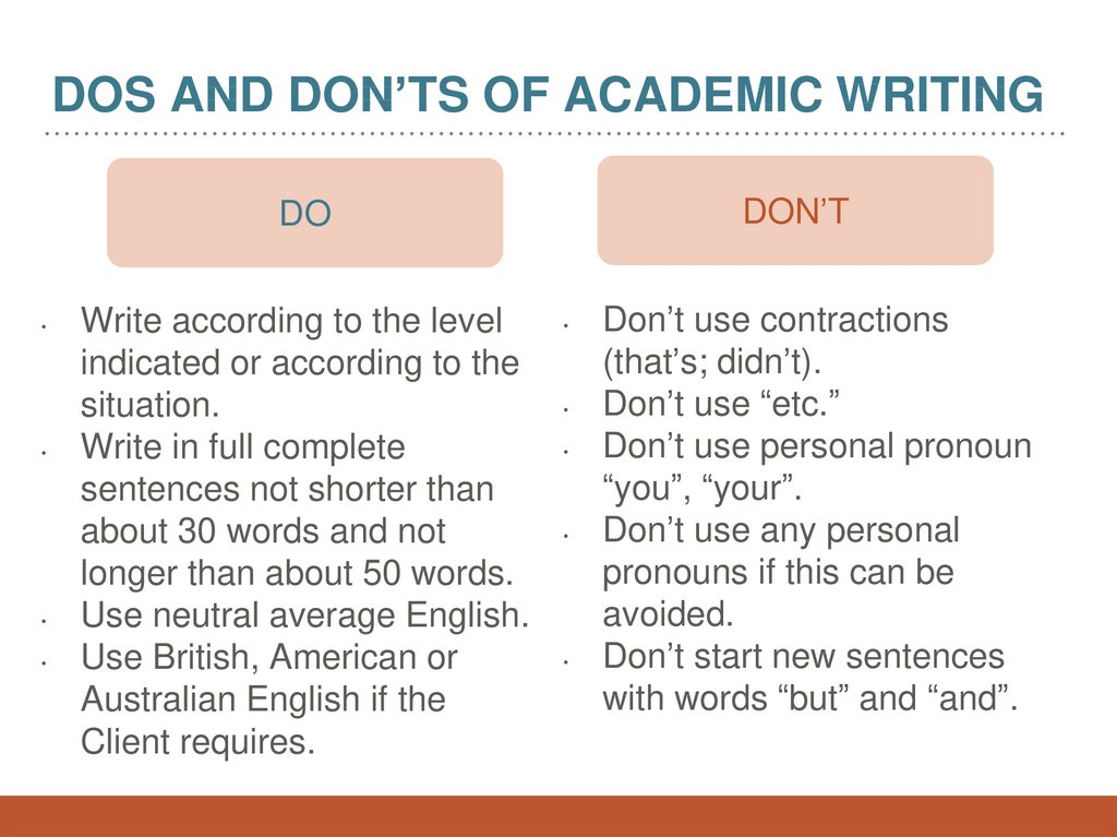 dos and don'ts of Academic writing
