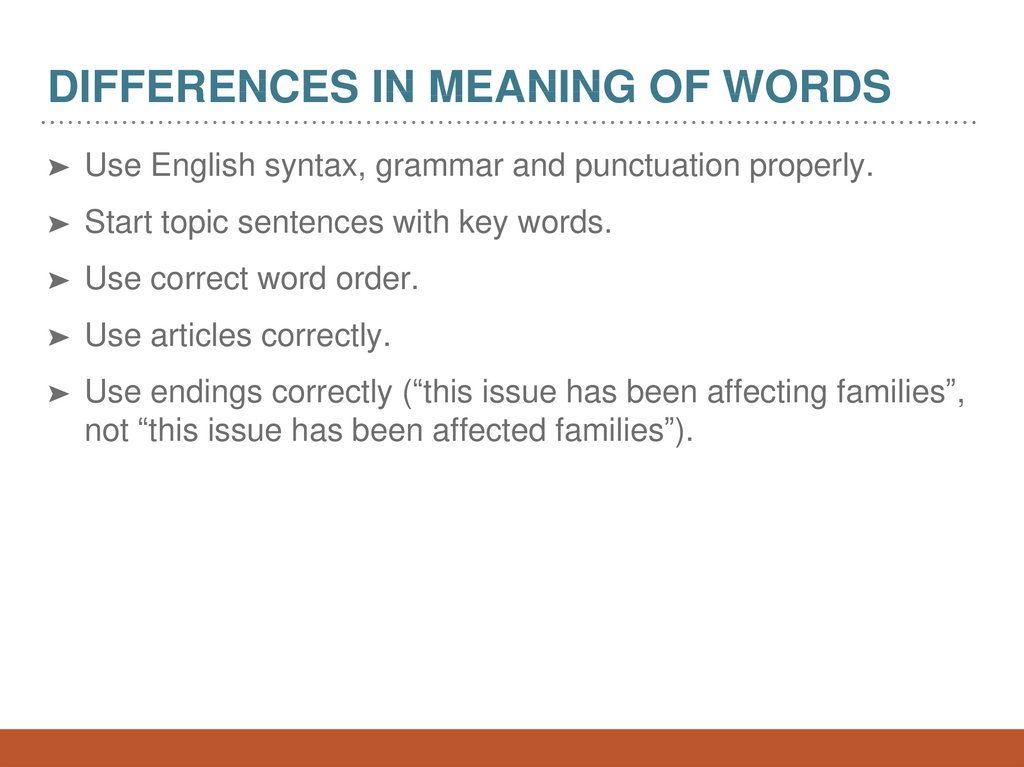 Differences in meaning of words