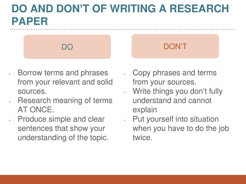 Do and Don't of Writing a research paper
