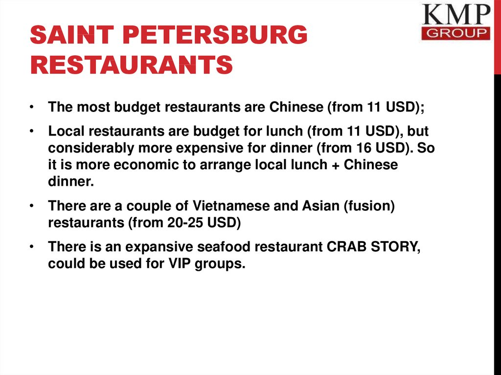 SAINT PETERSBURG RESTAURANTS