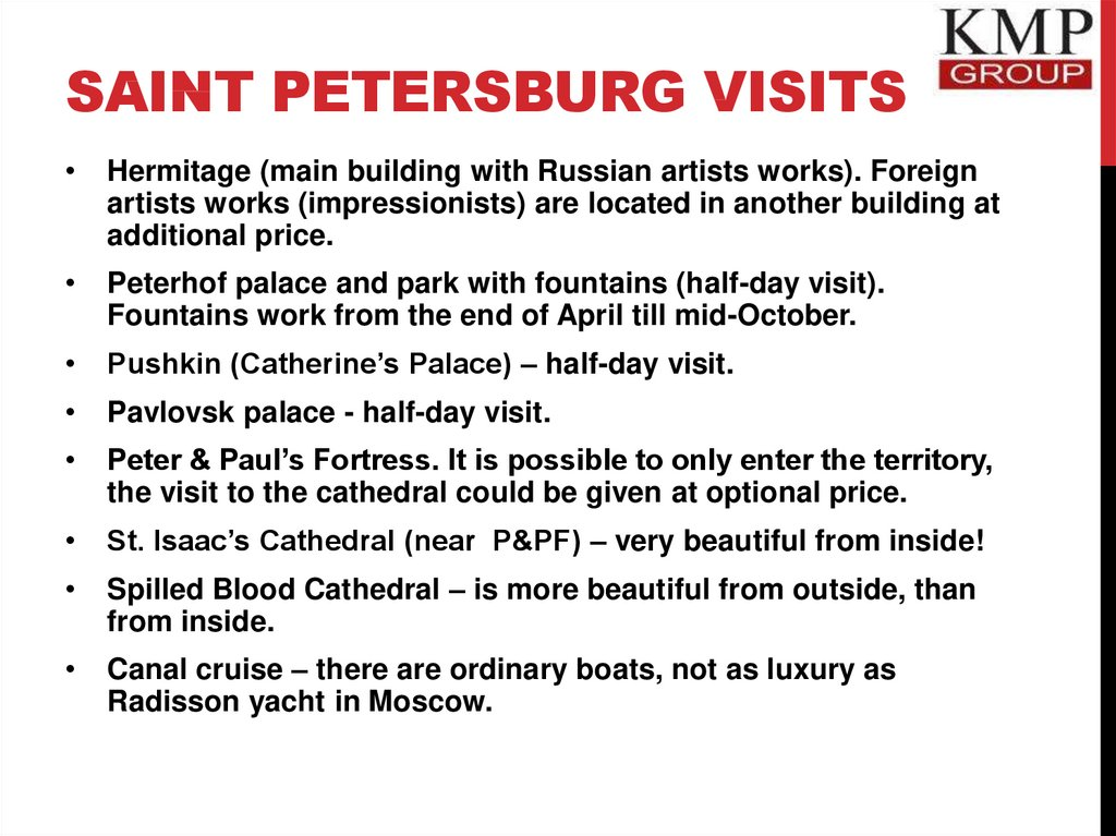 Saint Petersburg visits