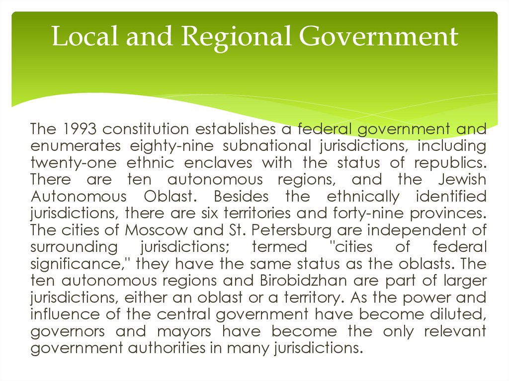 Local and Regional Government