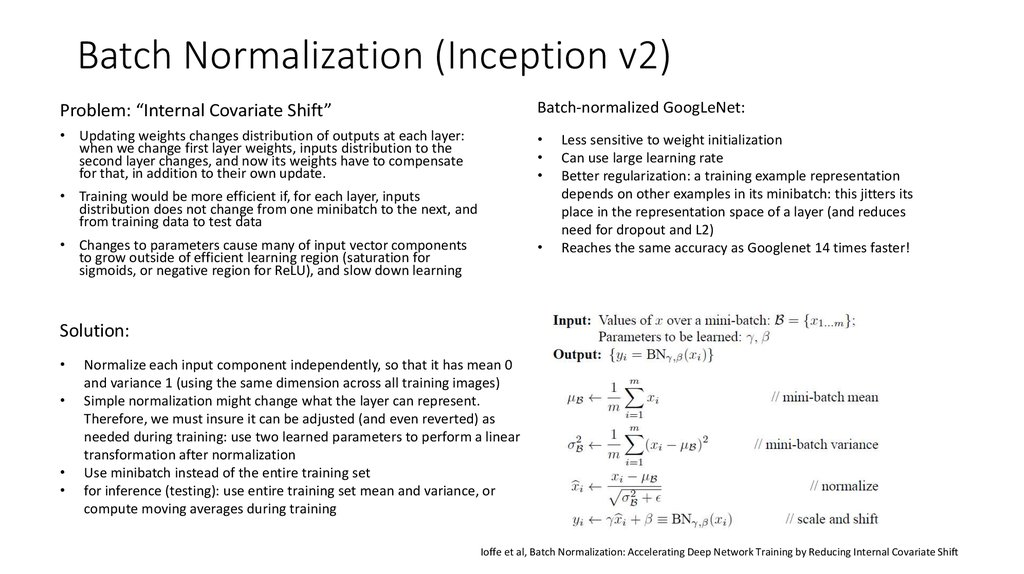 Batch Normalization (Inception v2)