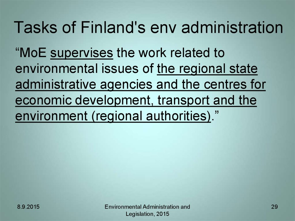Tasks of Finland's env administration