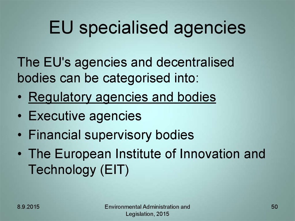 EU specialised agencies