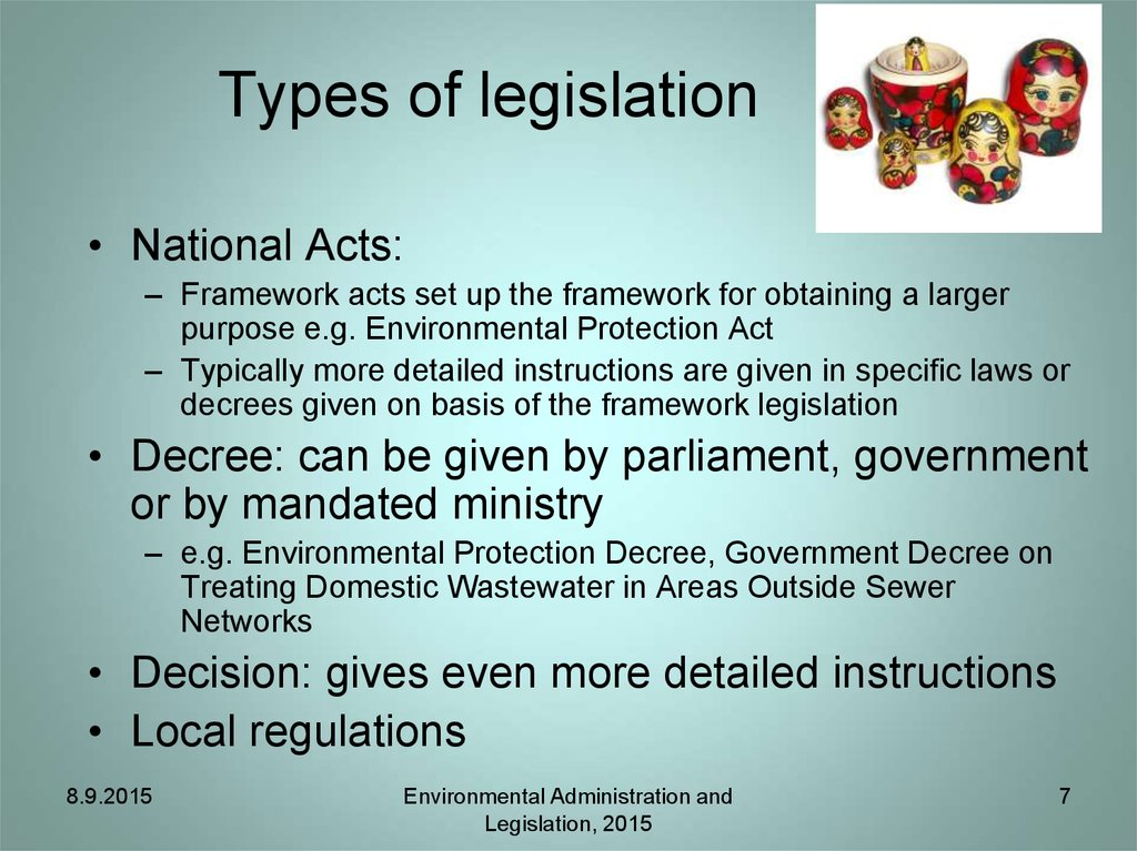 Types of legislation