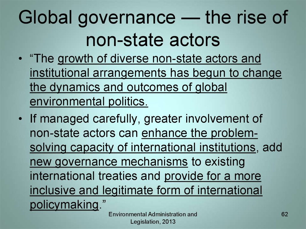 Global governance — the rise of non-state actors