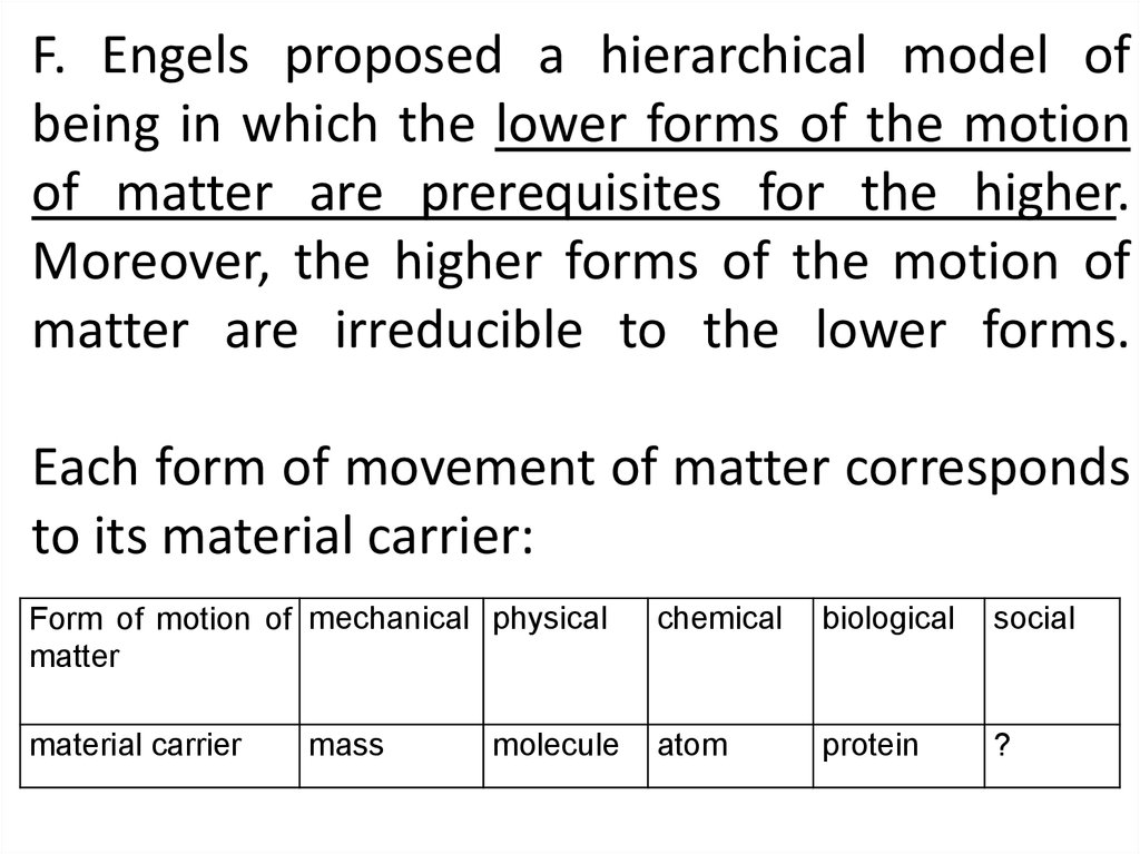 F. Engels proposed a hierarchical model of being in which the lower forms of the motion of matter are prerequisites for the