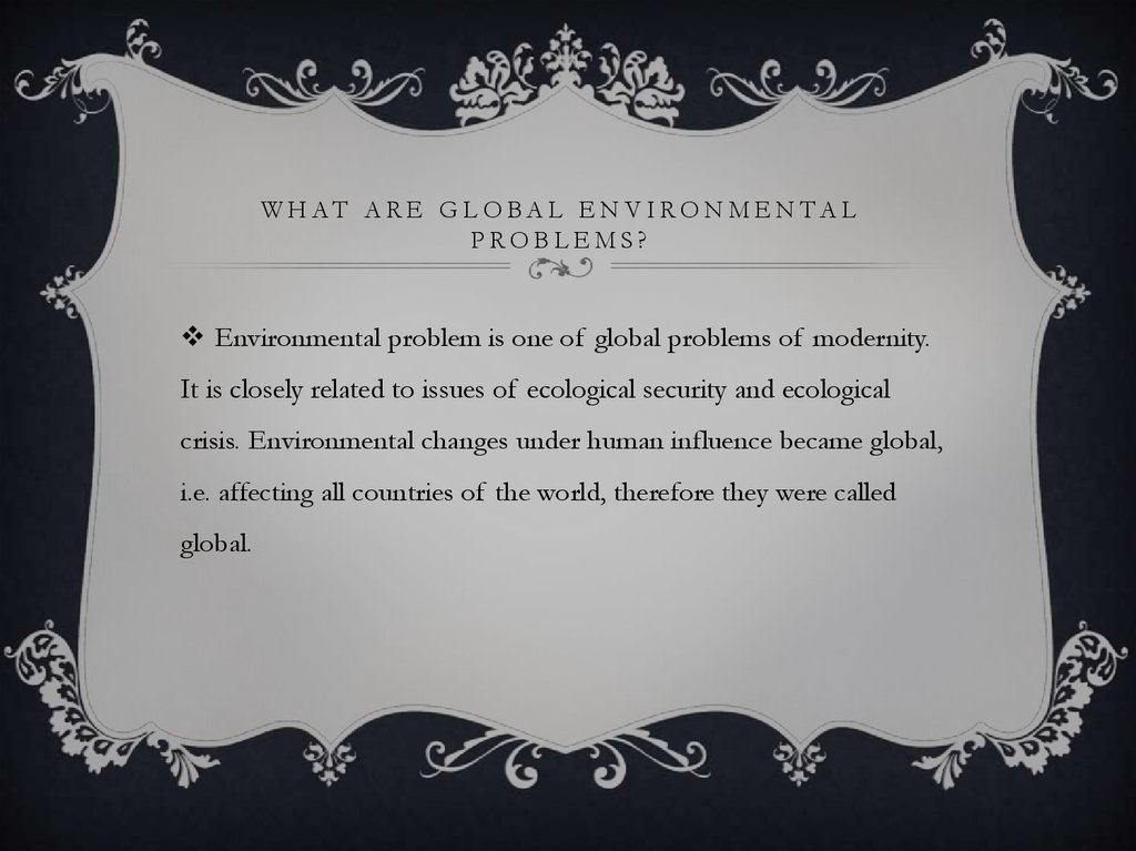 What are global environmental problems?