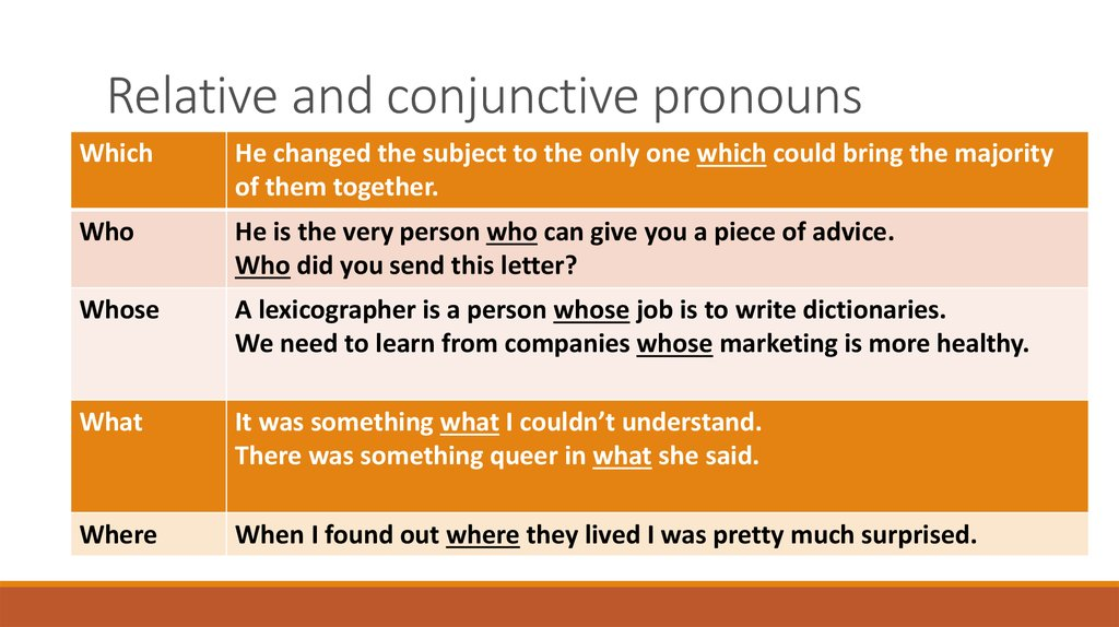 Relative and conjunctive pronouns