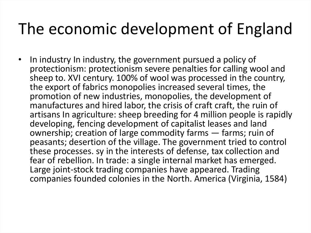 The economic development of England