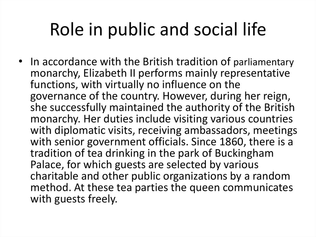 Role in public and social life