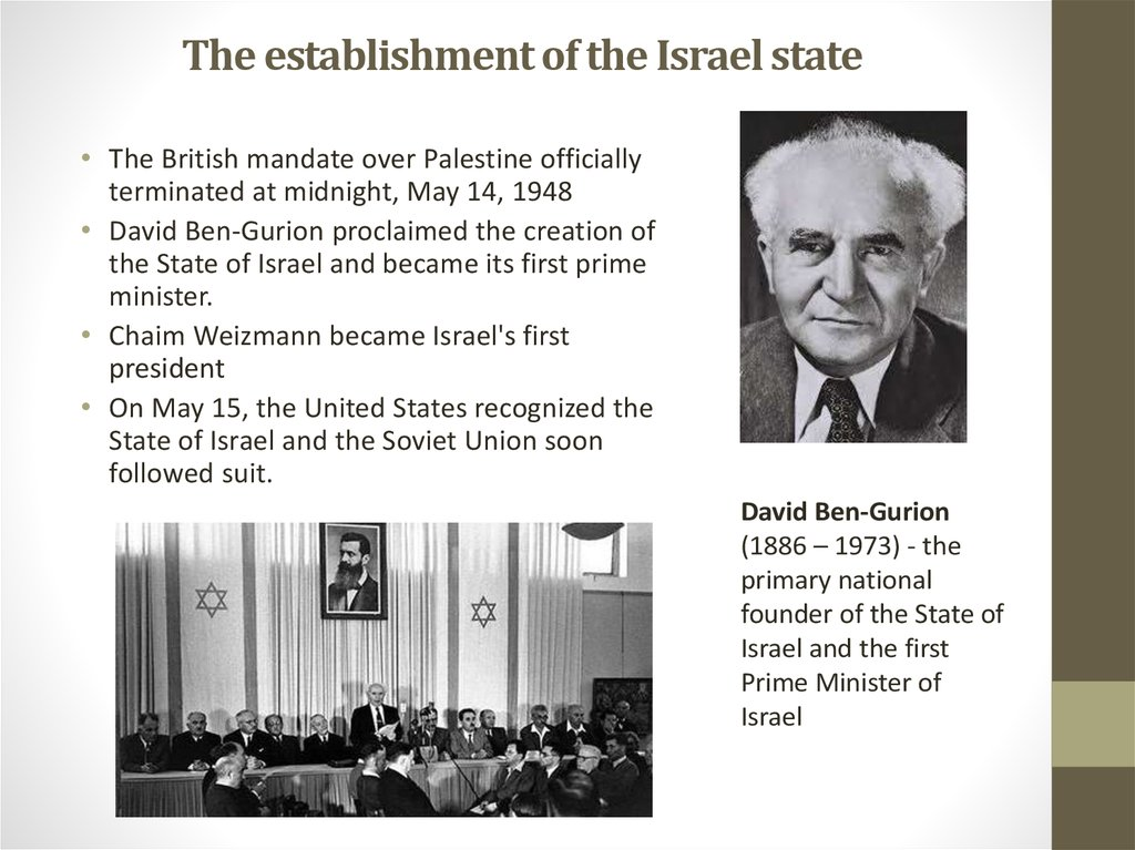 The establishment of the Israel state