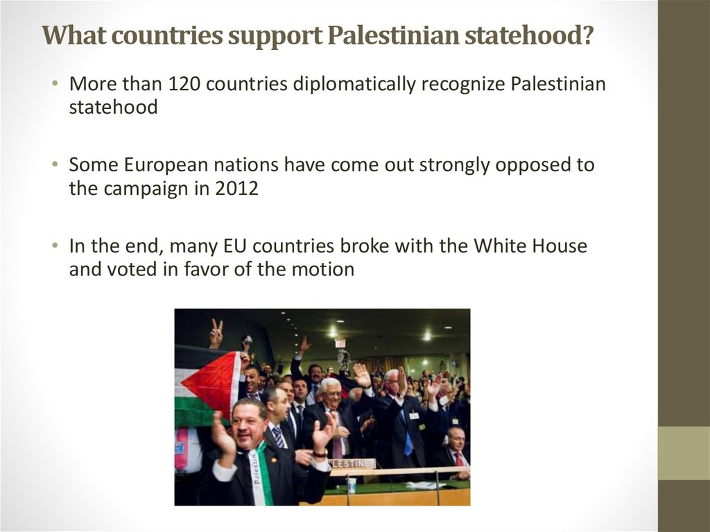 What countries support Palestinian statehood?