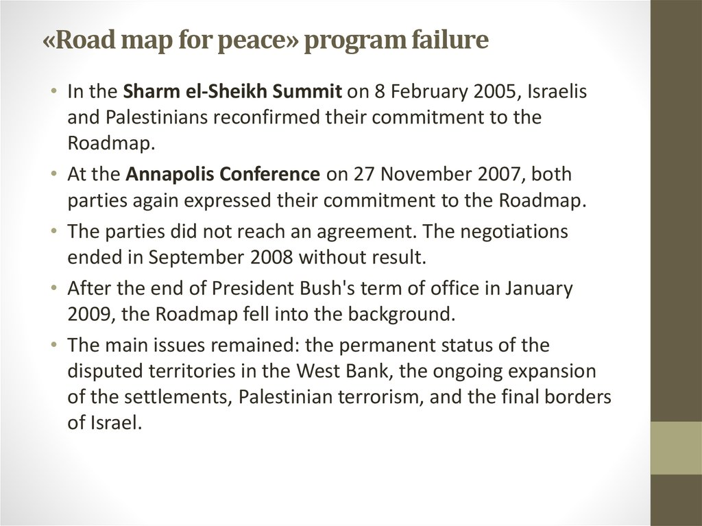 «Road map for peace» program failure