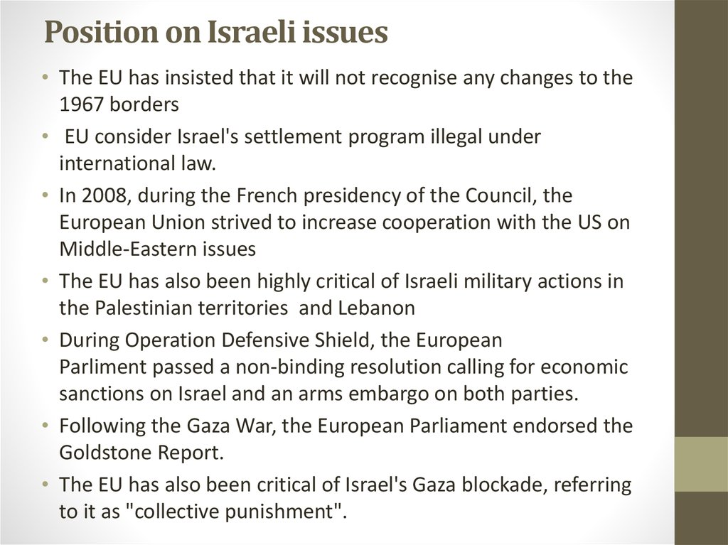 Position on Israeli issues