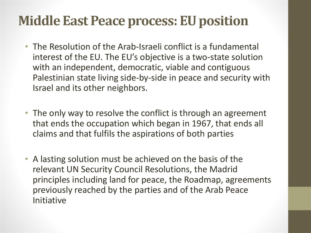 Middle East Peace process: EU position