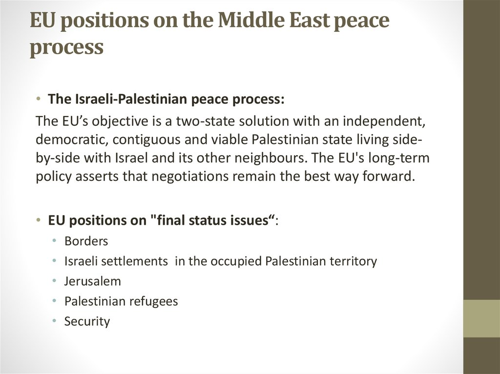 EU positions on the Middle East peace process