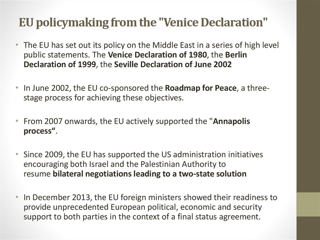 "EU policymaking from the ""Venice Declaration"""