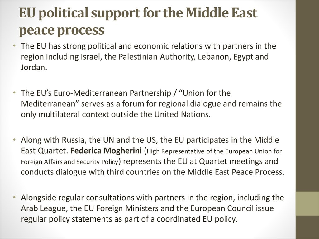 EU political support for the Middle East peace process