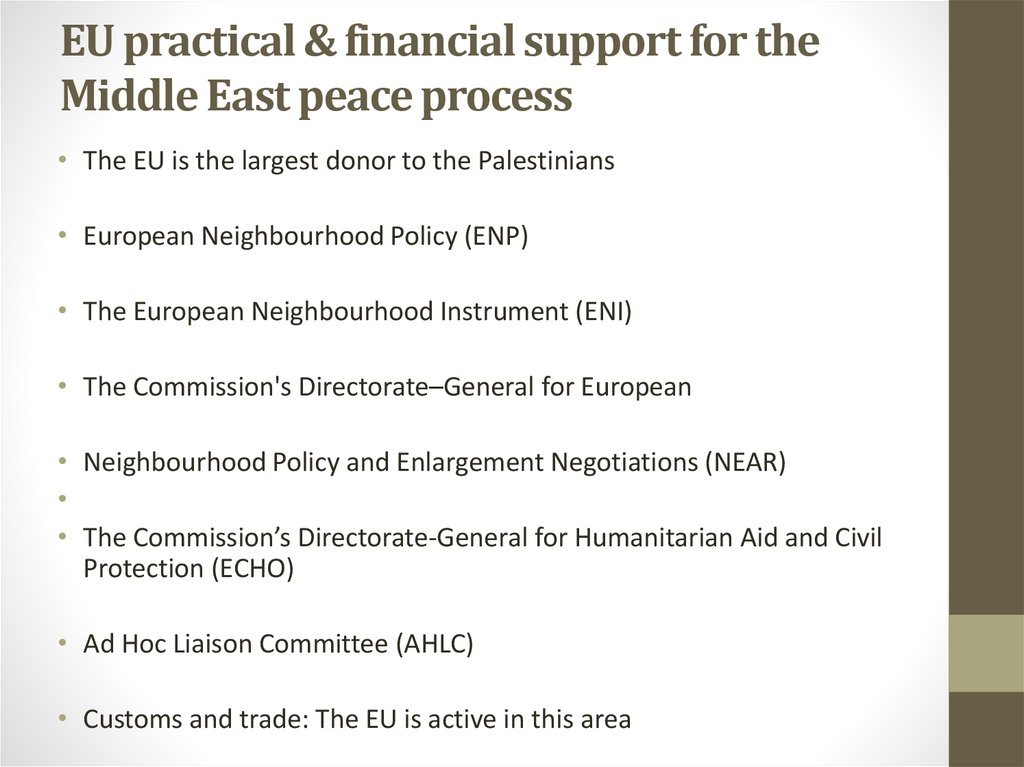 EU practical & financial support for the Middle East peace process