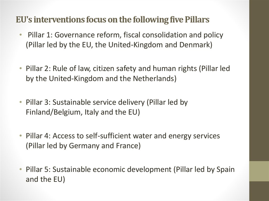 EU's interventions focus on the following five Pillars