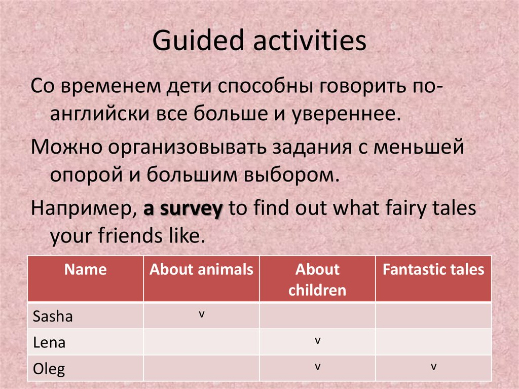 Guided activities