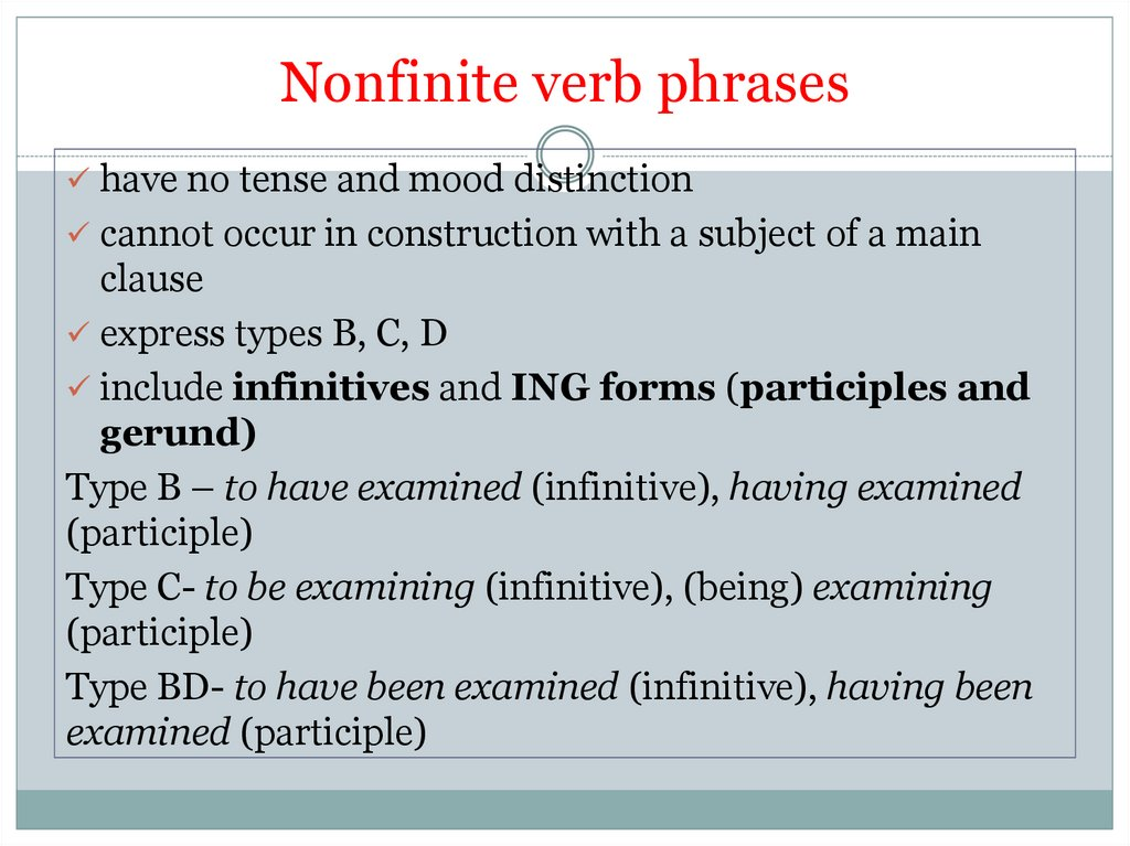 Nonfinite verb phrases