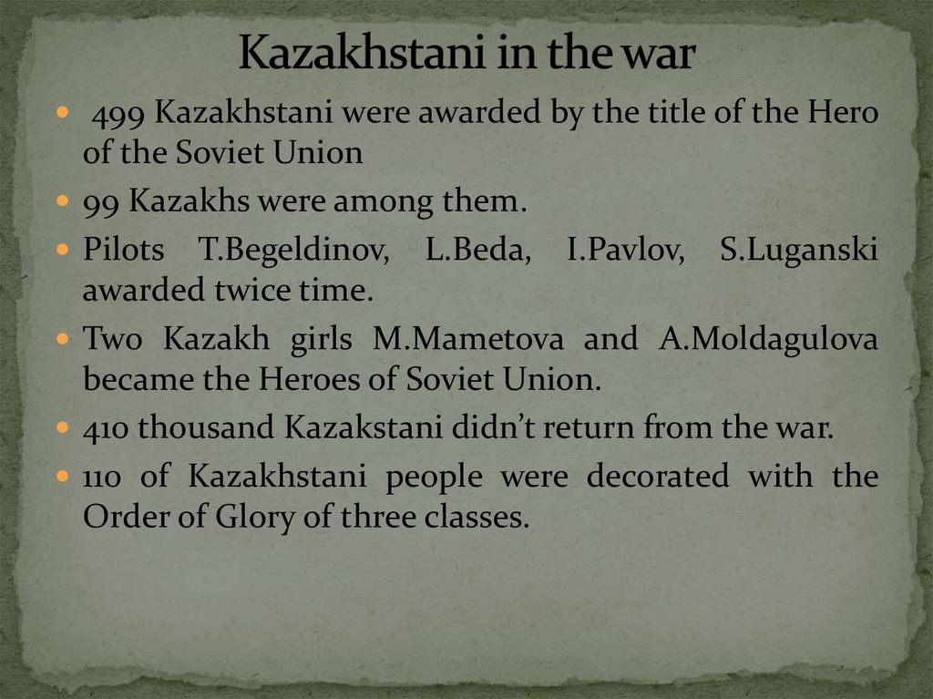 Kazakhstani in the war