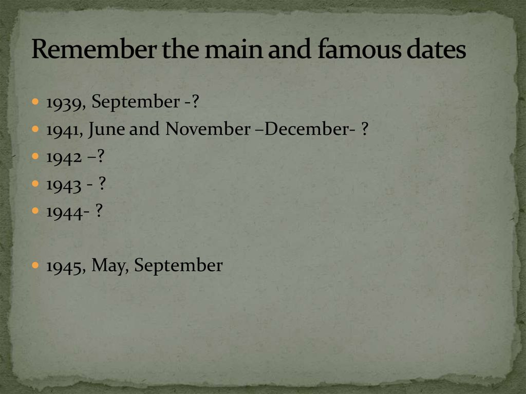 Remember the main and famous dates