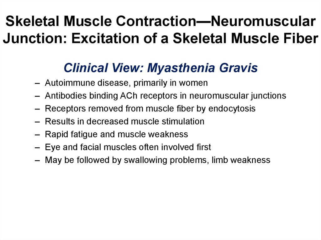 Skeletal Muscle Contraction—Neuromuscular Junction: Excitation of a Skeletal Muscle Fiber