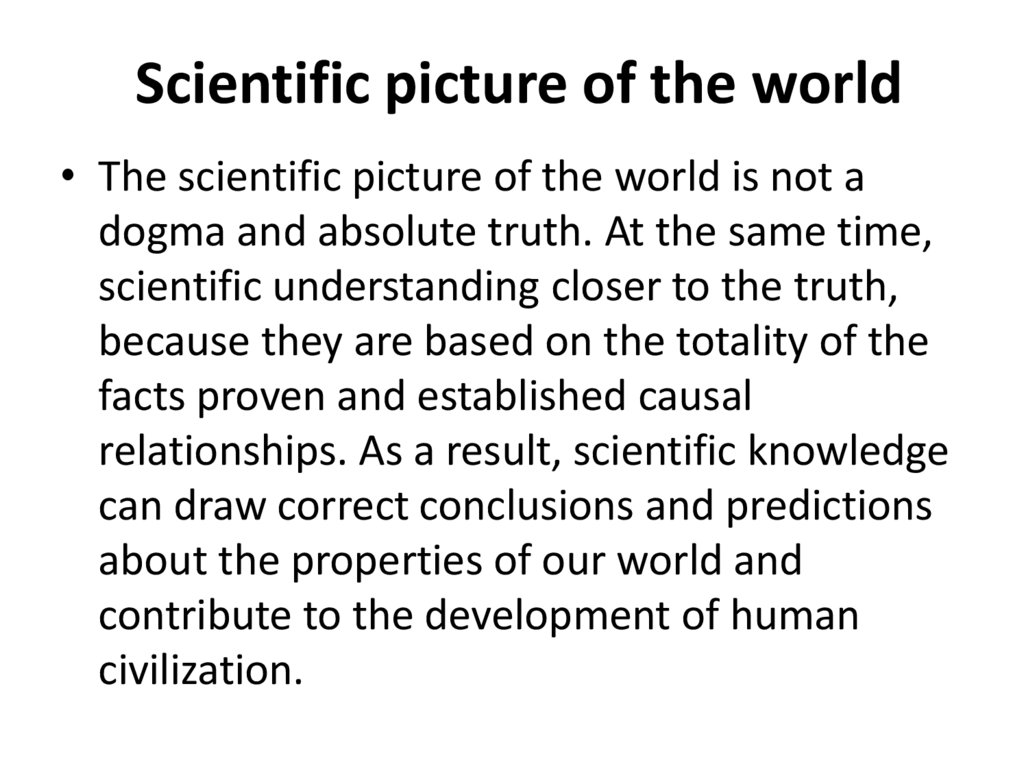 Scientific picture of the world