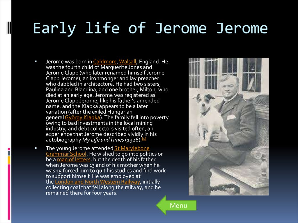 Early life of Jerome Jerome